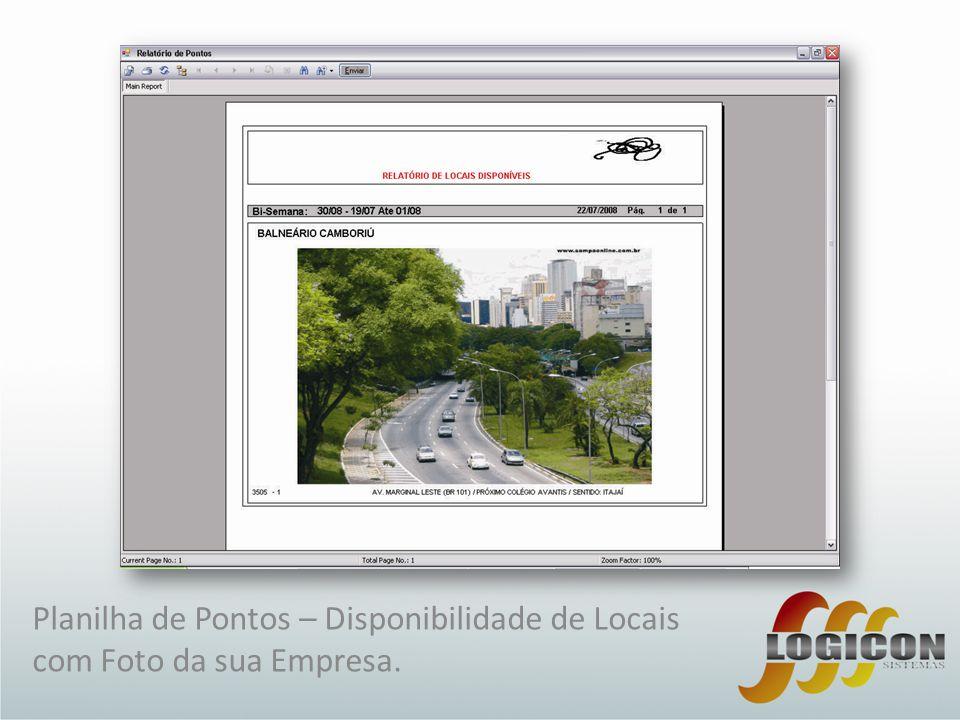 Planilha de Pontos – Disponibilidade de Locais com Foto da sua Empresa.