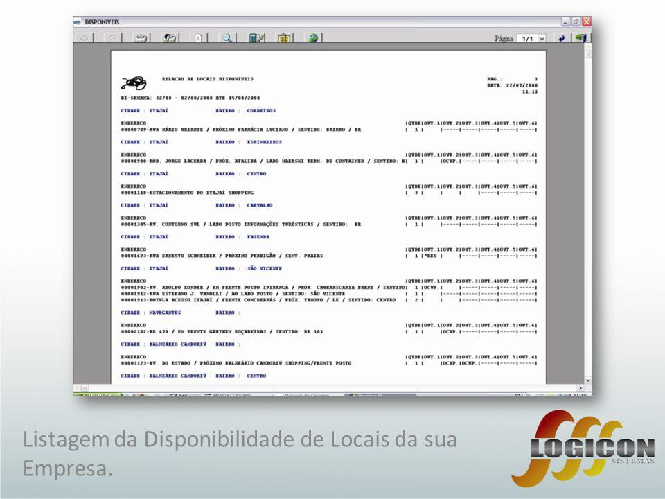Listagem da Disponibilidade de Locais da sua Empresa.