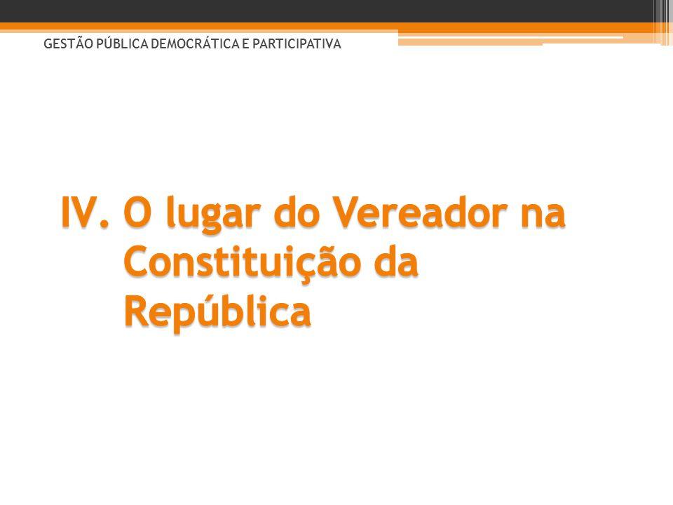 O lugar do Vereador na Constituição da República