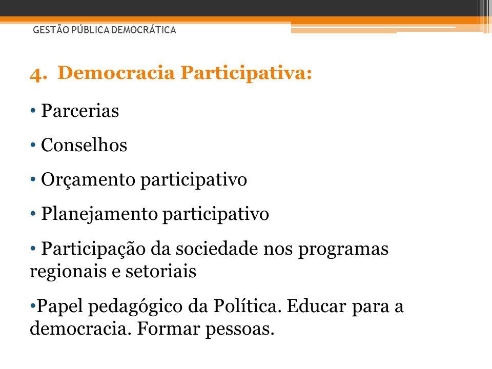 Democracia Participativa: Parcerias Conselhos Orçamento participativo