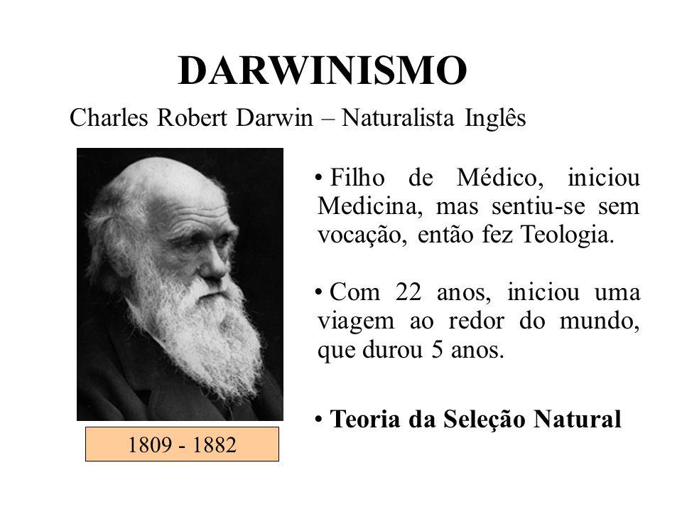 DARWINISMO Charles Robert Darwin – Naturalista Inglês