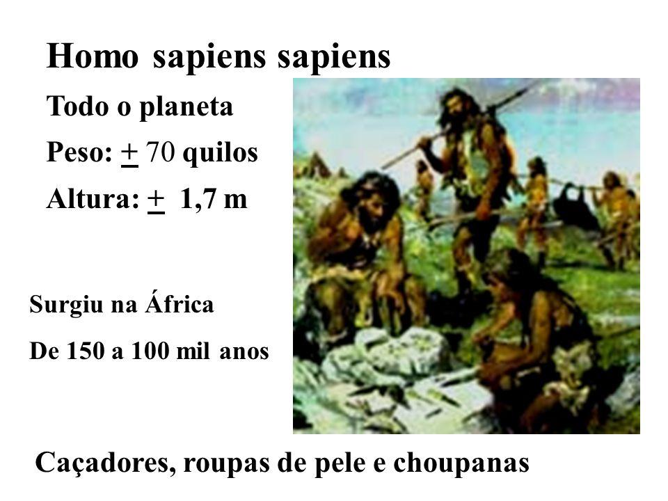 Homo sapiens sapiens Todo o planeta Peso: + 70 quilos Altura: + 1,7 m