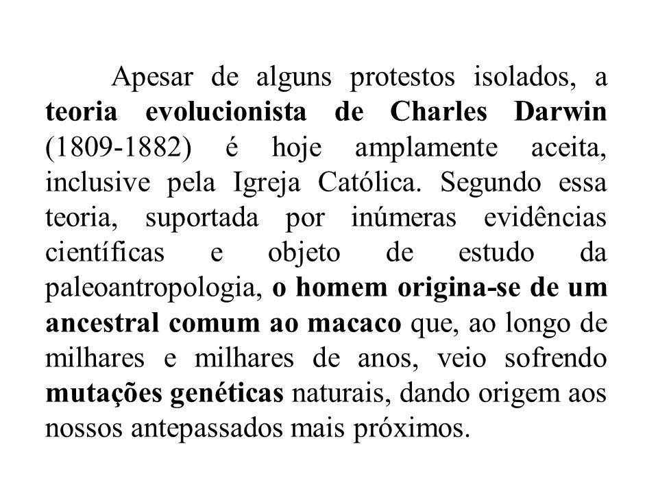 Apesar de alguns protestos isolados, a teoria evolucionista de Charles Darwin (1809-1882) é hoje amplamente aceita, inclusive pela Igreja Católica.