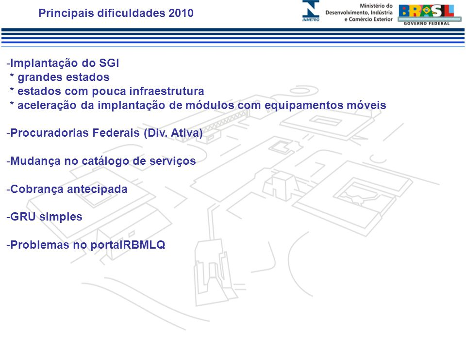 Principais dificuldades 2010