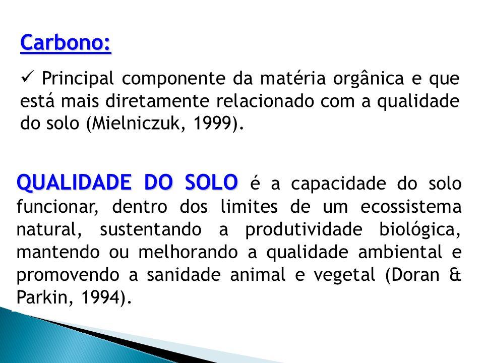 Carbono:  Principal componente da matéria orgânica e que está mais diretamente relacionado com a qualidade do solo (Mielniczuk, 1999).