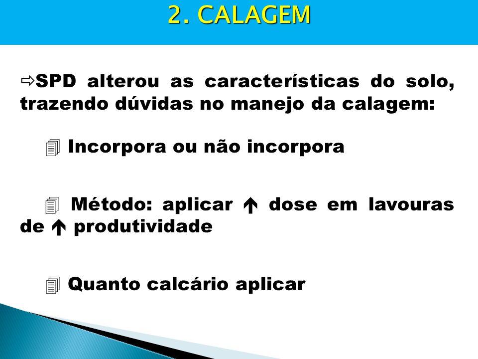 2. CALAGEM SPD alterou as características do solo, trazendo dúvidas no manejo da calagem:  Incorpora ou não incorpora.