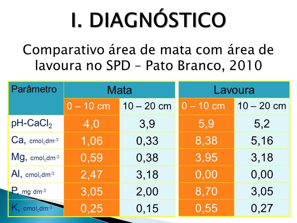 I. DIAGNÓSTICO Comparativo área de mata com área de lavoura no SPD – Pato Branco, 2010. Parâmetro.