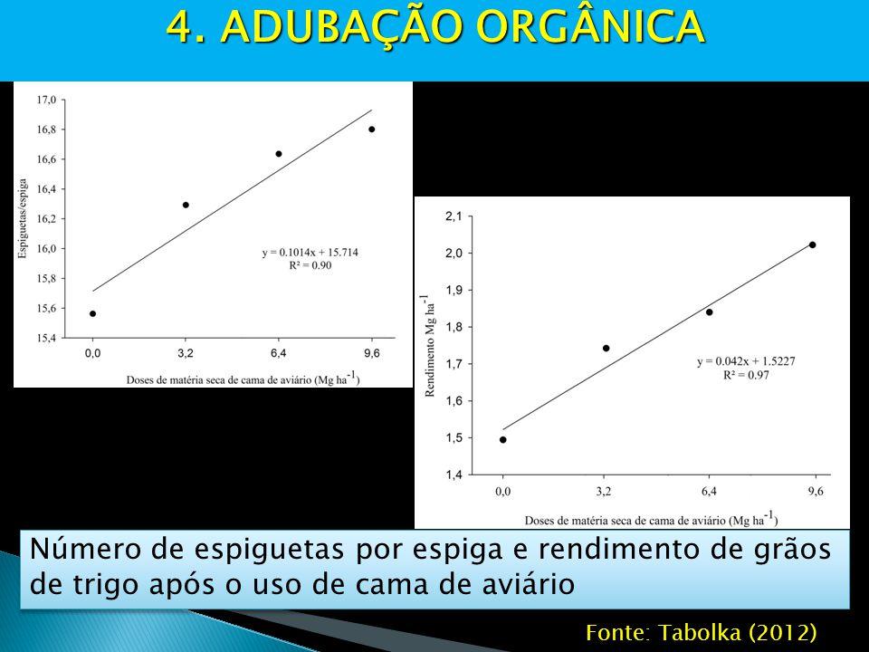 4. ADUBAÇÃO ORGÂNICA Número de espiguetas por espiga e rendimento de grãos de trigo após o uso de cama de aviário.