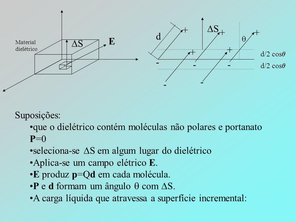 que o dielétrico contém moléculas não polares e portanato P=0