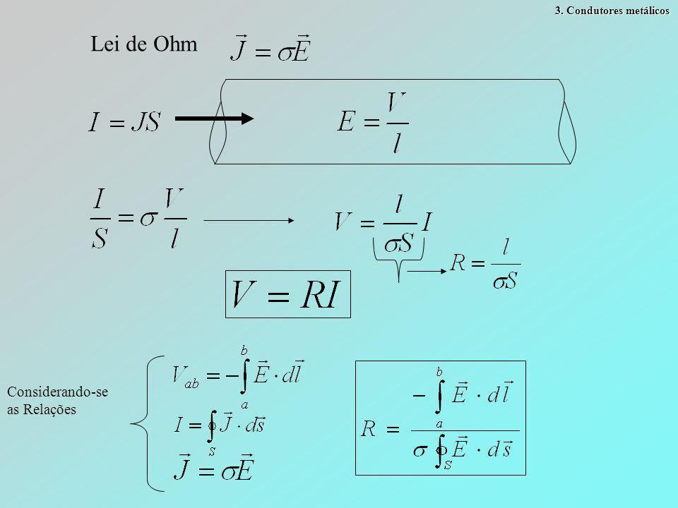 3. Condutores metálicos Lei de Ohm Considerando-se as Relações