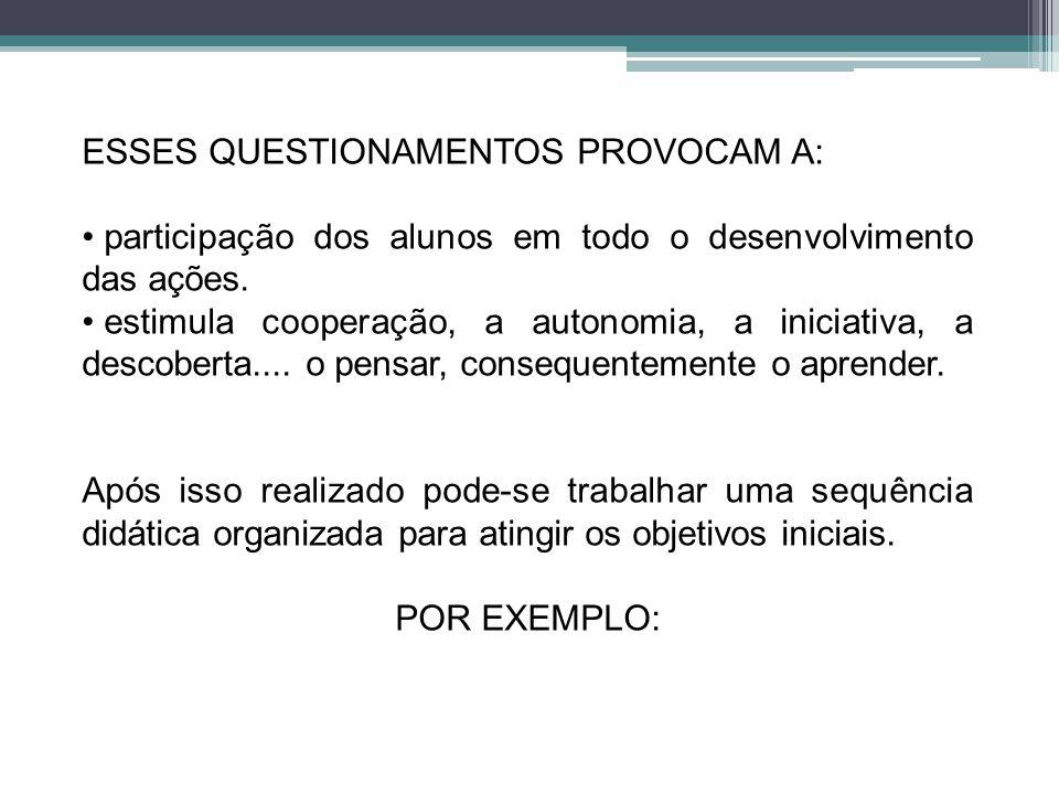 ESSES QUESTIONAMENTOS PROVOCAM A: