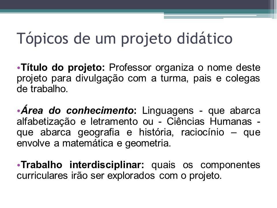 Tópicos de um projeto didático