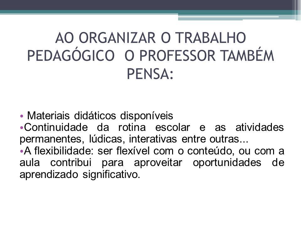 AO ORGANIZAR O TRABALHO PEDAGÓGICO O PROFESSOR TAMBÉM PENSA: