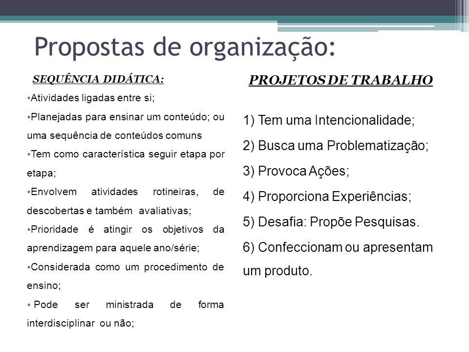 Propostas de organização: