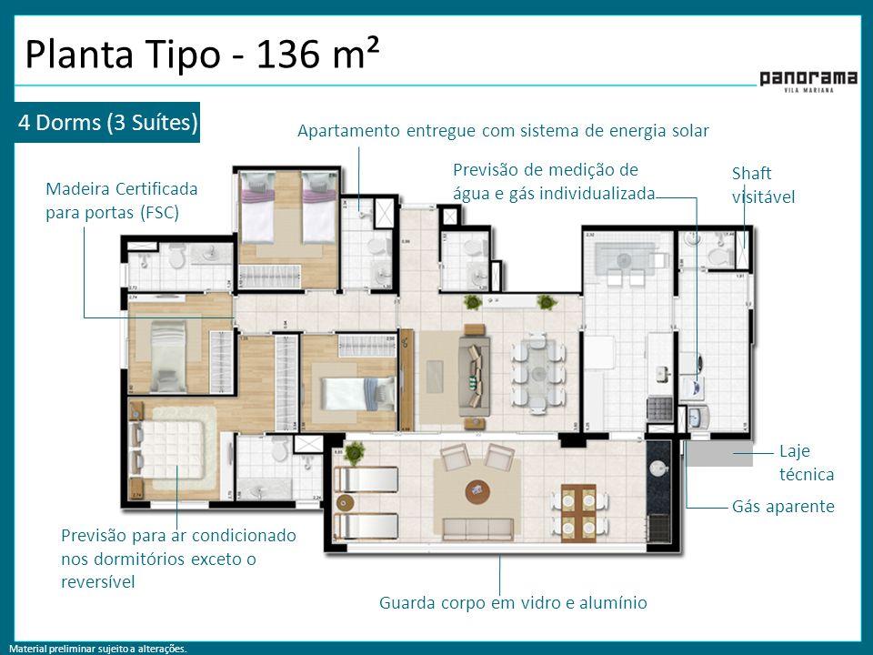 Planta Tipo - 136 m² 4 Dorms (3 Suítes)