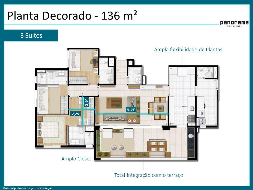 Planta Decorado - 136 m² 3 Suítes Ampla flexibilidade de Plantas