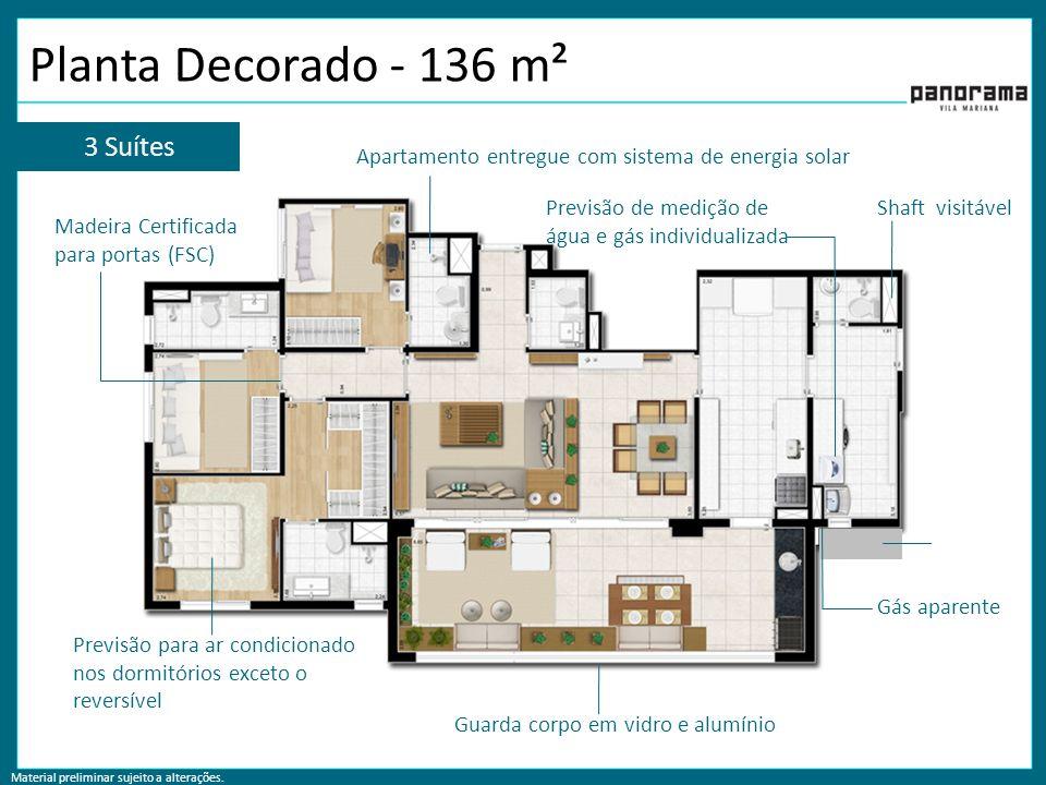 Planta Decorado - 136 m² 3 Suítes