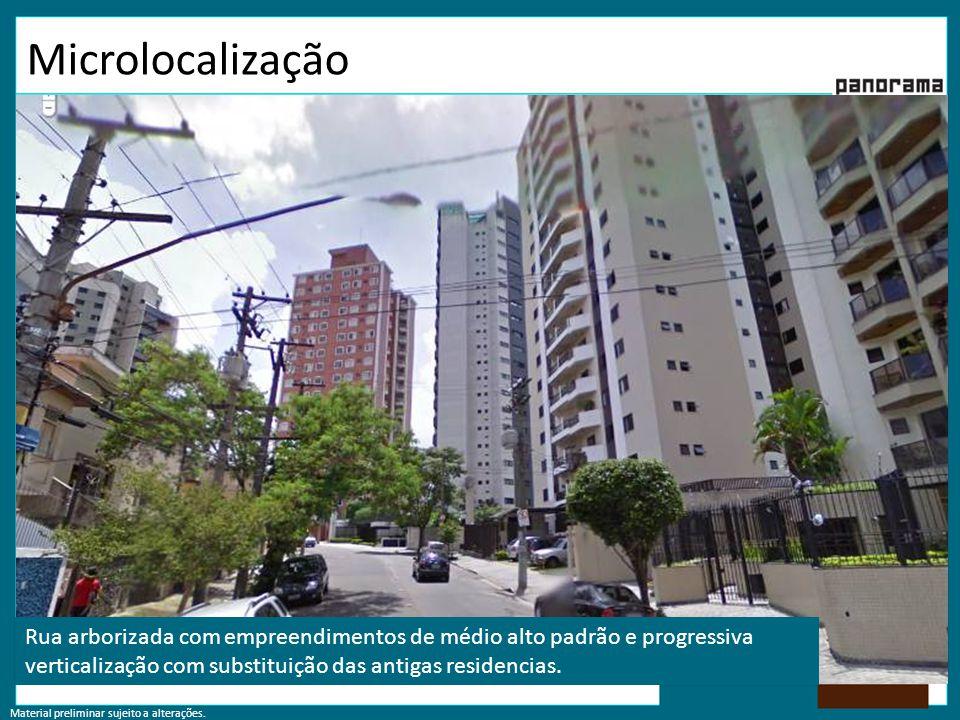 Microlocalização Rua arborizada com empreendimentos de médio alto padrão e progressiva verticalização com substituição das antigas residencias.