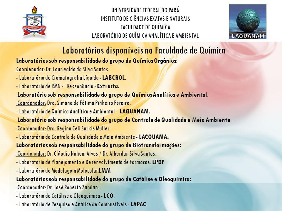 Laboratórios disponíveis na Faculdade de Química