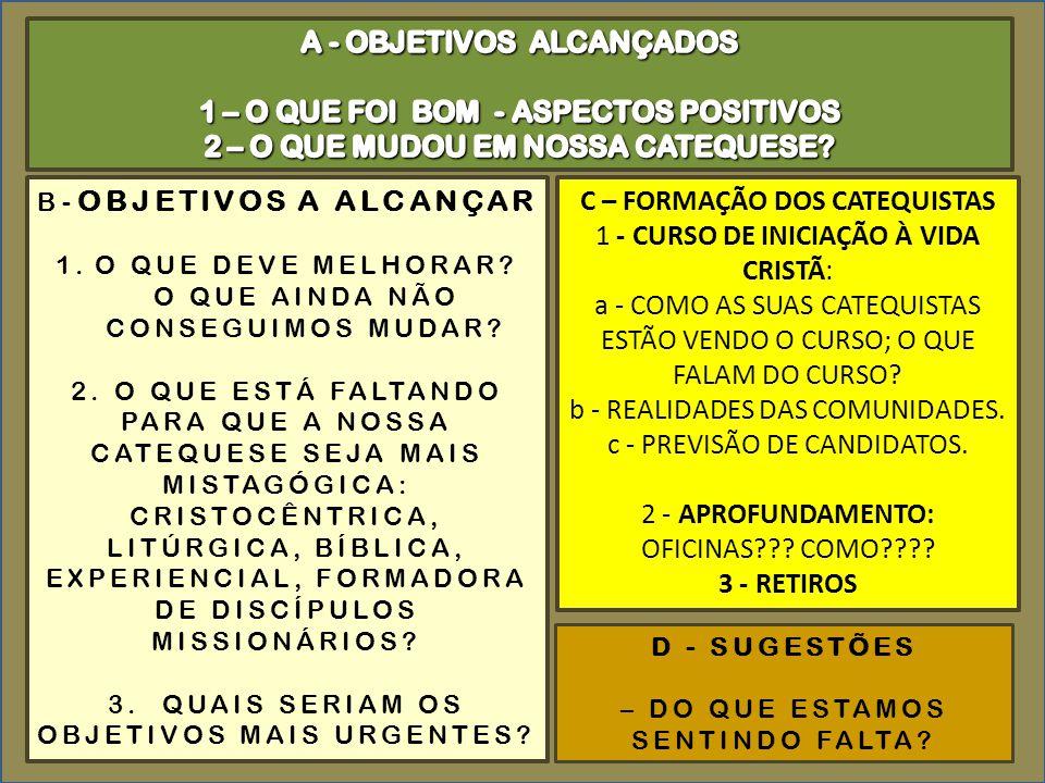 A - OBJETIVOS ALCANÇADOS 1 – O QUE FOI BOM - ASPECTOS POSITIVOS