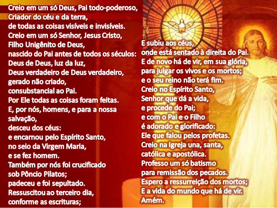Creio em um só Deus, Pai todo-poderoso, Criador do céu e da terra, de todas as coisas visíveis e invisíveis.