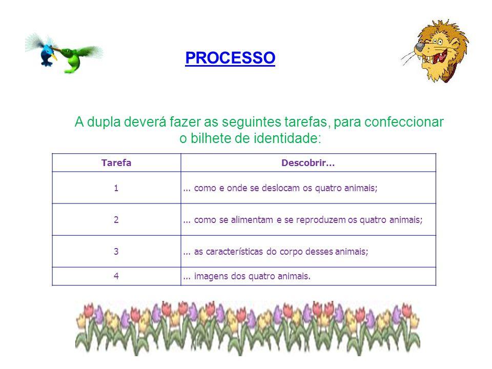 PROCESSO A dupla deverá fazer as seguintes tarefas, para confeccionar o bilhete de identidade: