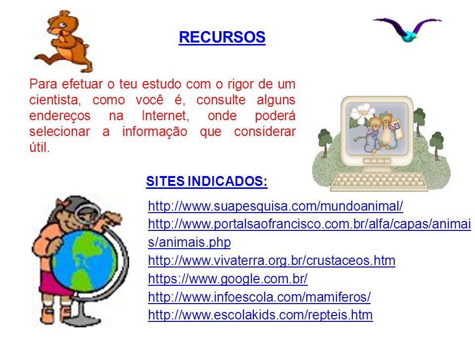 RECURSOS http://www.suapesquisa.com/mundoanimal/
