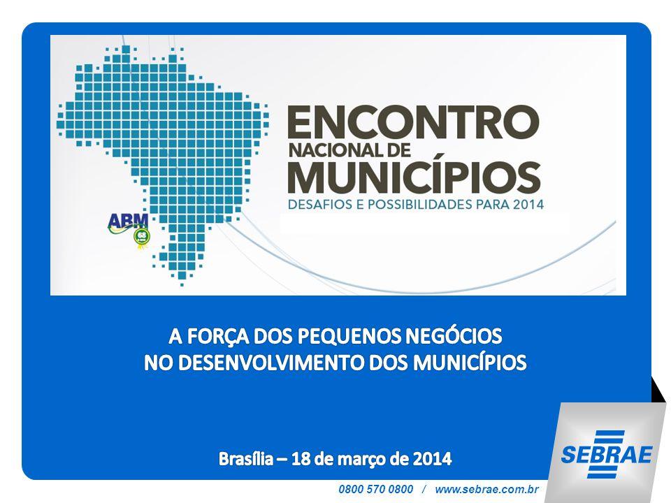 SEBRAE NACIONAL ENCONTRO NACIONAL DE MUNICÍPIOS A FORÇA DOS PEQUENOS NEGÓCIOS NO DESENVOLVIMENTO DOS MUNICÍPIOS Brasília – 18 de março de 2014