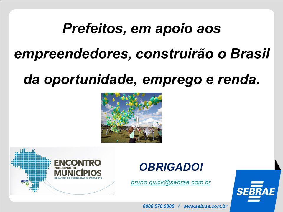 Prefeitos, em apoio aos empreendedores, construirão o Brasil da oportunidade, emprego e renda.
