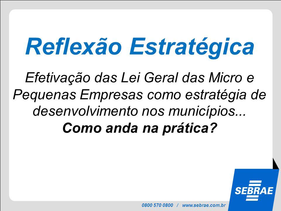 9 Reflexão Estratégica. Efetivação das Lei Geral das Micro e Pequenas Empresas como estratégia de desenvolvimento nos municípios...