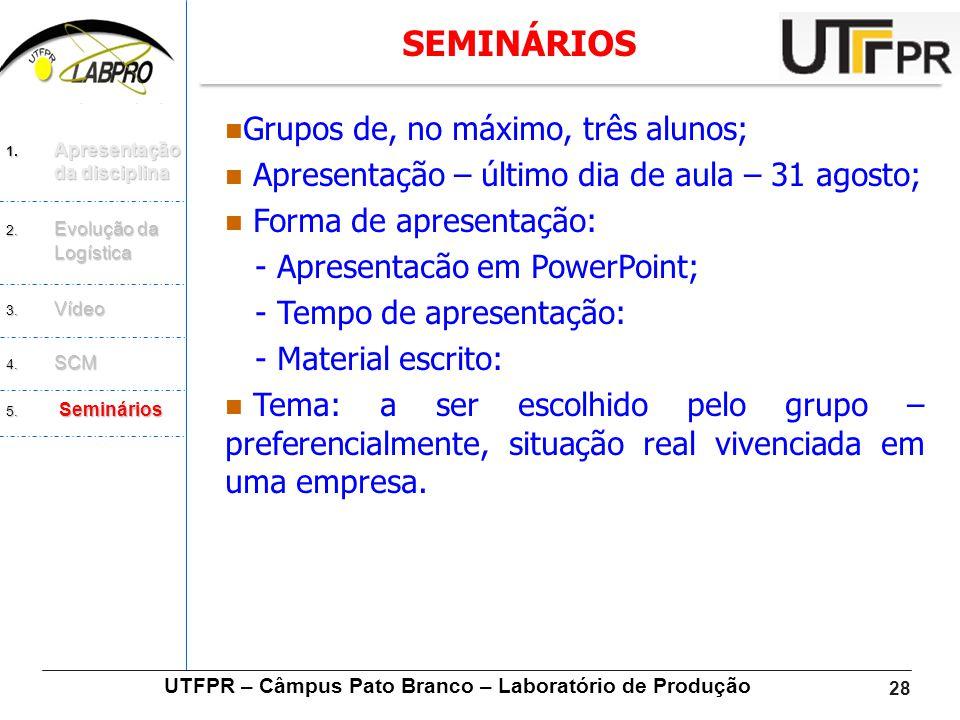 UTFPR – Câmpus Pato Branco – Laboratório de Produção