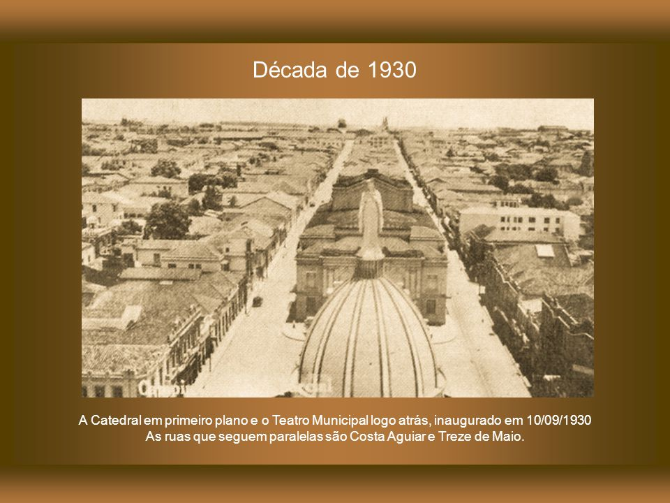 As ruas que seguem paralelas são Costa Aguiar e Treze de Maio.