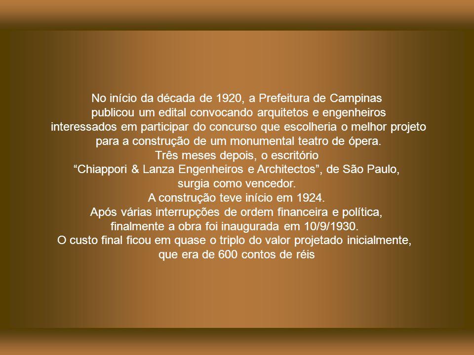 No início da década de 1920, a Prefeitura de Campinas