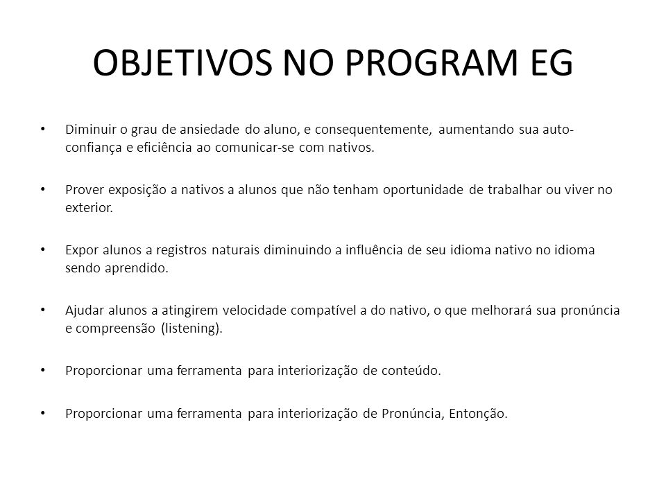OBJETIVOS NO PROGRAM EG