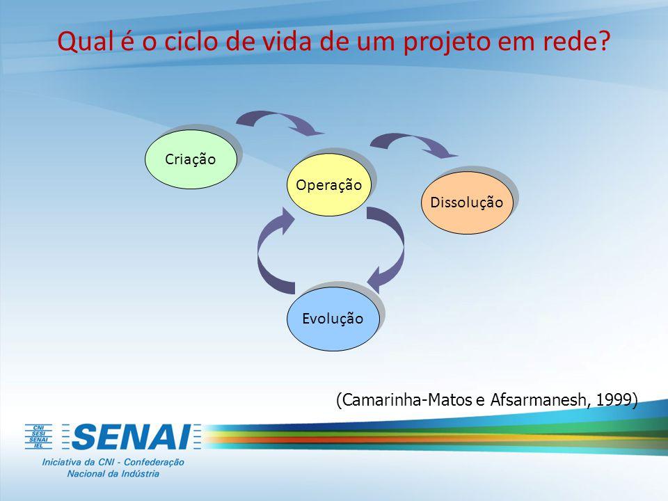 Qual é o ciclo de vida de um projeto em rede