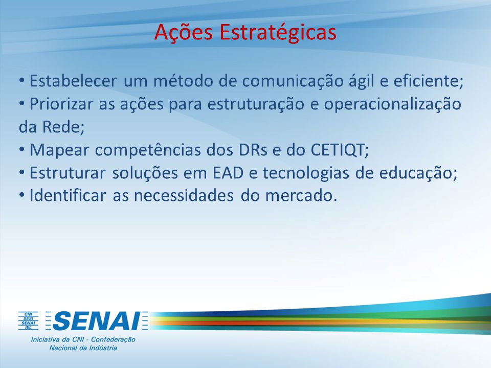 Ações Estratégicas Estabelecer um método de comunicação ágil e eficiente; Priorizar as ações para estruturação e operacionalização da Rede;