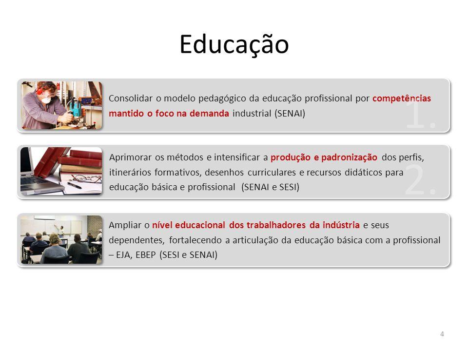 Educação Consolidar o modelo pedagógico da educação profissional por competências mantido o foco na demanda industrial (SENAI)
