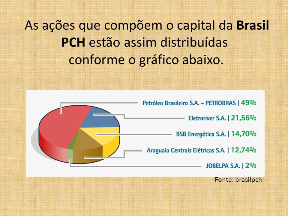 As ações que compõem o capital da Brasil PCH estão assim distribuídas conforme o gráfico abaixo.