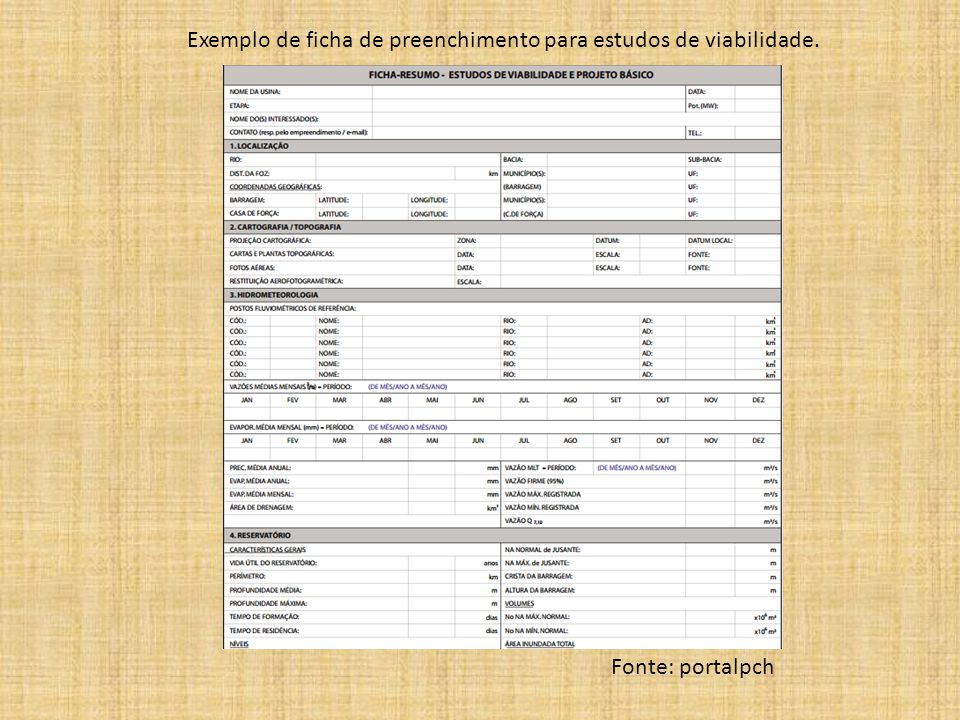 Exemplo de ficha de preenchimento para estudos de viabilidade.