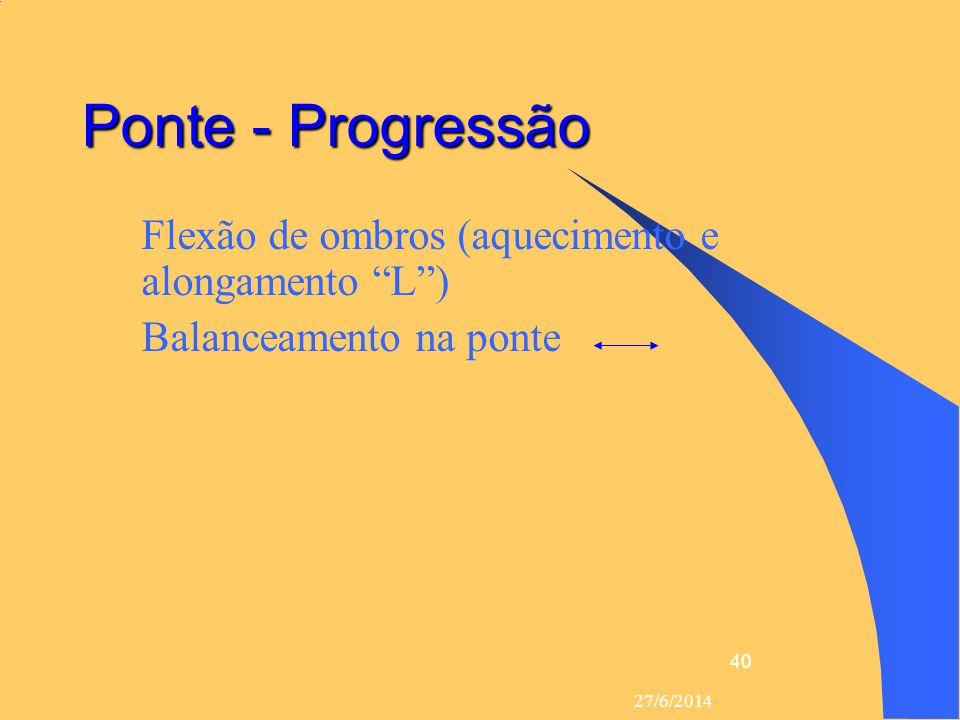 Ponte - Progressão Flexão de ombros (aquecimento e alongamento L )
