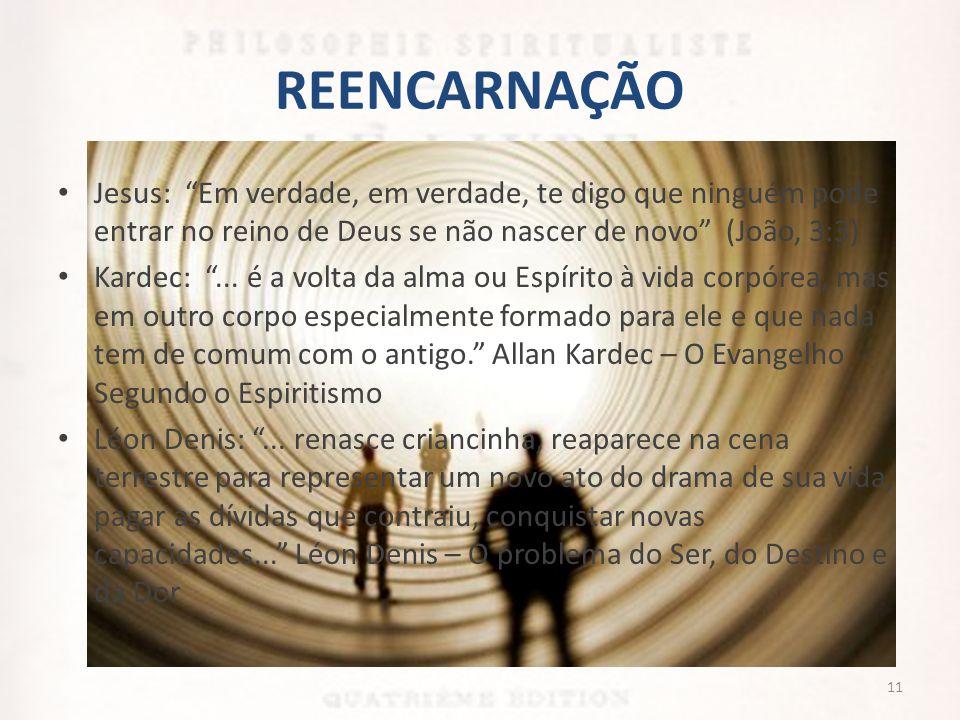 REENCARNAÇÃO Jesus: Em verdade, em verdade, te digo que ninguém pode entrar no reino de Deus se não nascer de novo (João, 3:3)