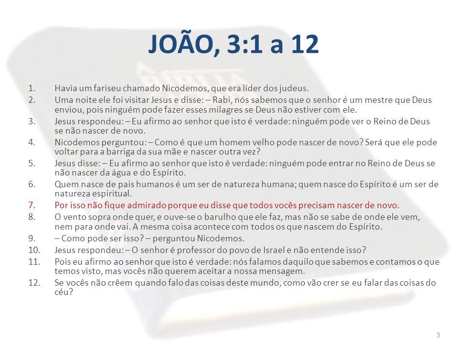 JOÃO, 3:1 a 12 Havia um fariseu chamado Nicodemos, que era líder dos judeus.