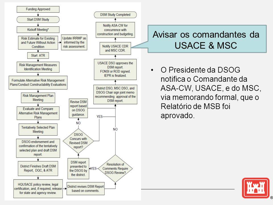 Avisar os comandantes da USACE & MSC