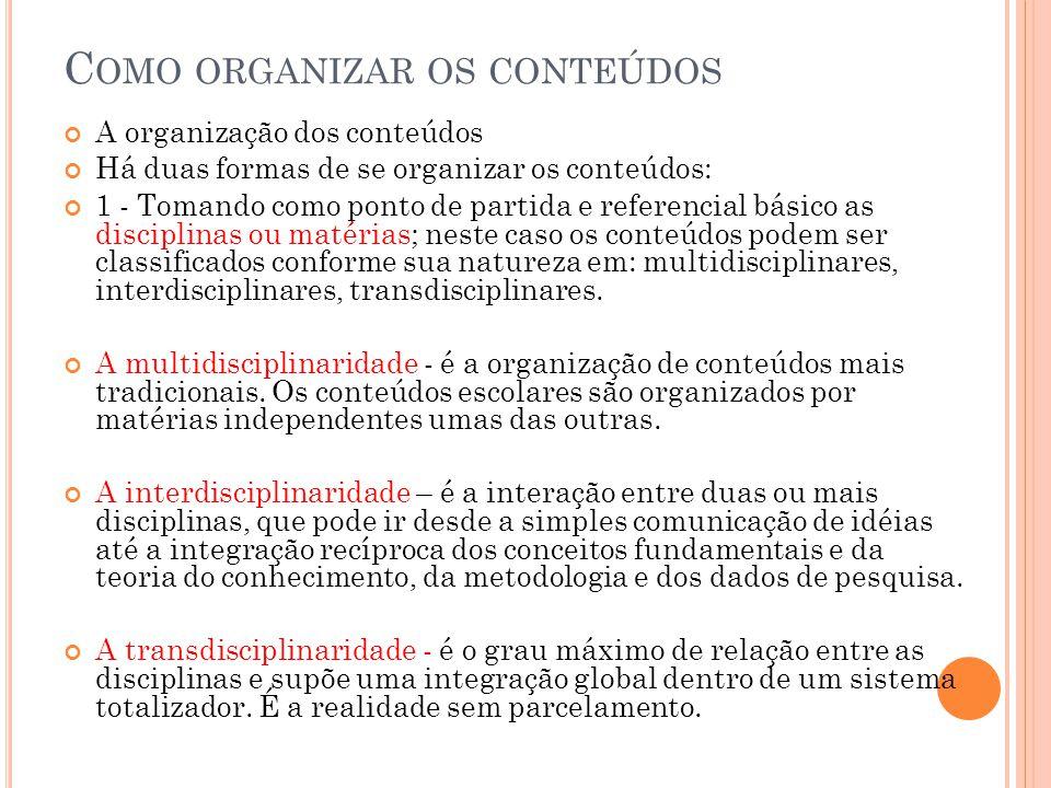 Como organizar os conteúdos