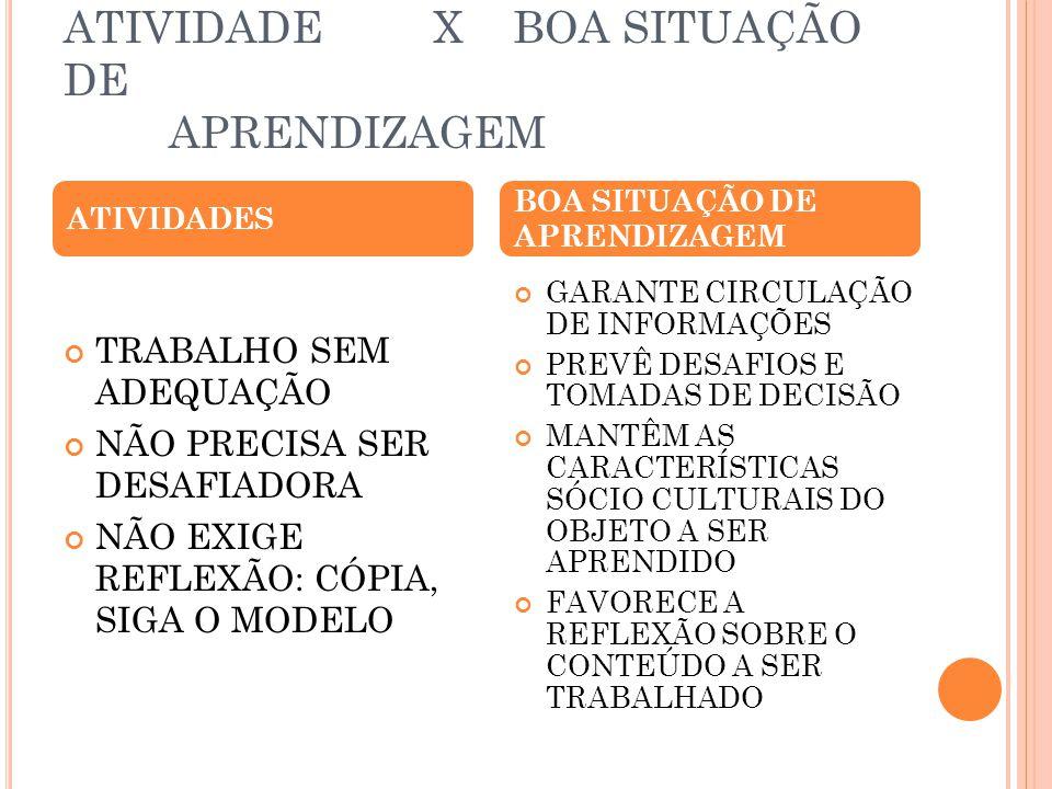 ATIVIDADE X BOA SITUAÇÃO DE APRENDIZAGEM