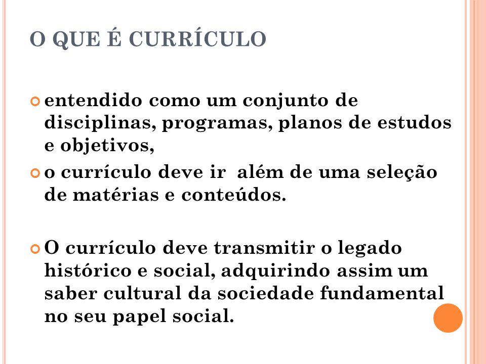 O QUE É CURRÍCULO entendido como um conjunto de disciplinas, programas, planos de estudos e objetivos,