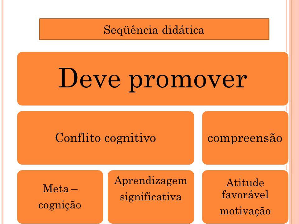 Deve promover Conflito cognitivo compreensão Seqüência didática
