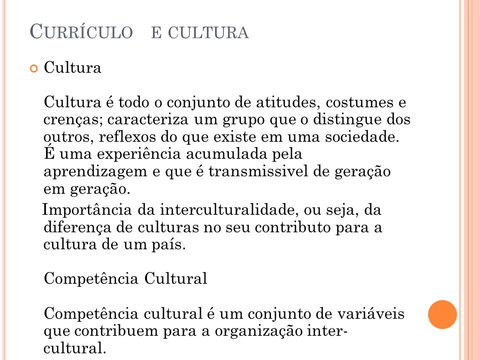 Currículo e cultura