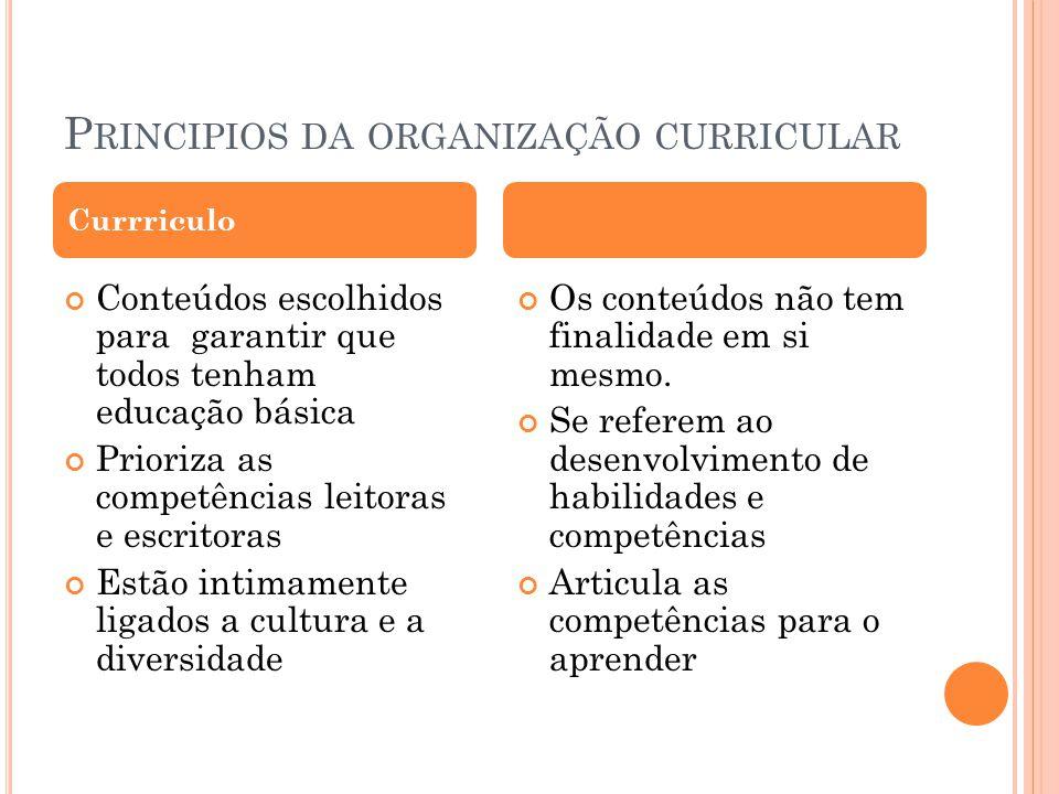 Principios da organização curricular