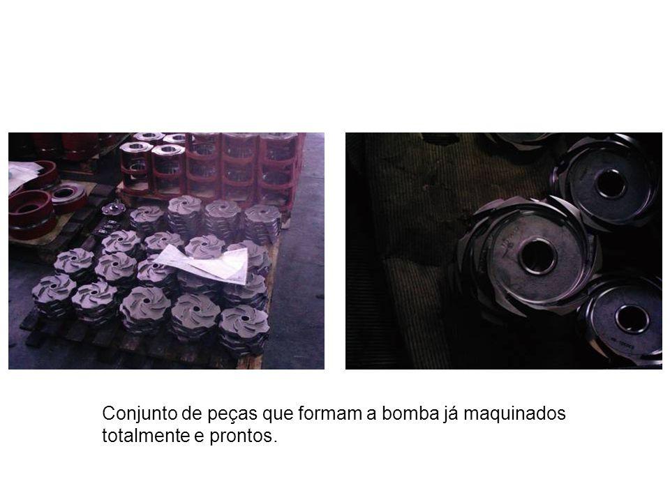 Conjunto de peças que formam a bomba já maquinados totalmente e prontos.